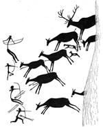 Prehistorische rotstekening van een jachttafereel Valltorta Gorge (Castelòn), Spanje
