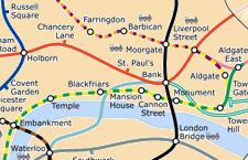 Fragment van een moderne geografische London Underground Map