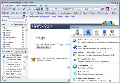 Delicious extensie (sidebar en menu) en andere extensies in Firefox