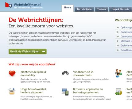 Ontwerpvoorstel nieuwe website Webrichtlijnen