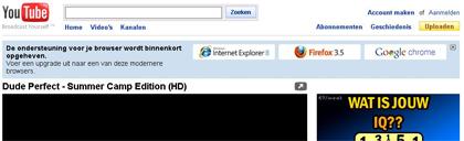 Volledige screenshot van de YouTube aankondiging