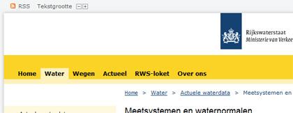 Voorbeeld van globale navigatie (Rijkswaterstaat.nl)