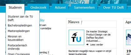 Dropdown navigatie van TUDelft.nl