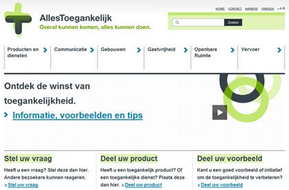 Homepage van AllesToegankelijk.nl