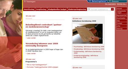 Screenshot van Toeslagen.nl
