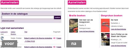 Aanwinsten pagina op Loket aangepast-lezen (voor en na usability test)