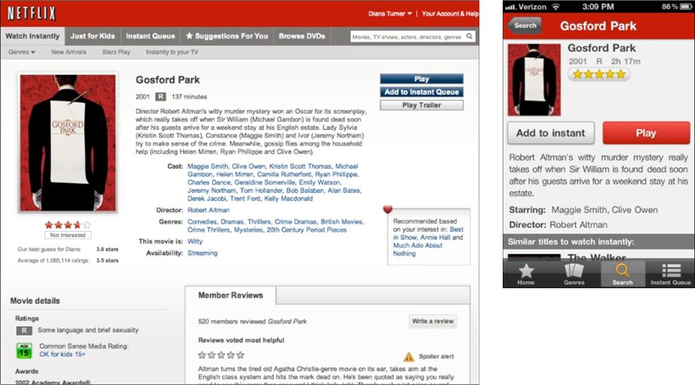 Screenshot van Netflix op desktop en mobiel