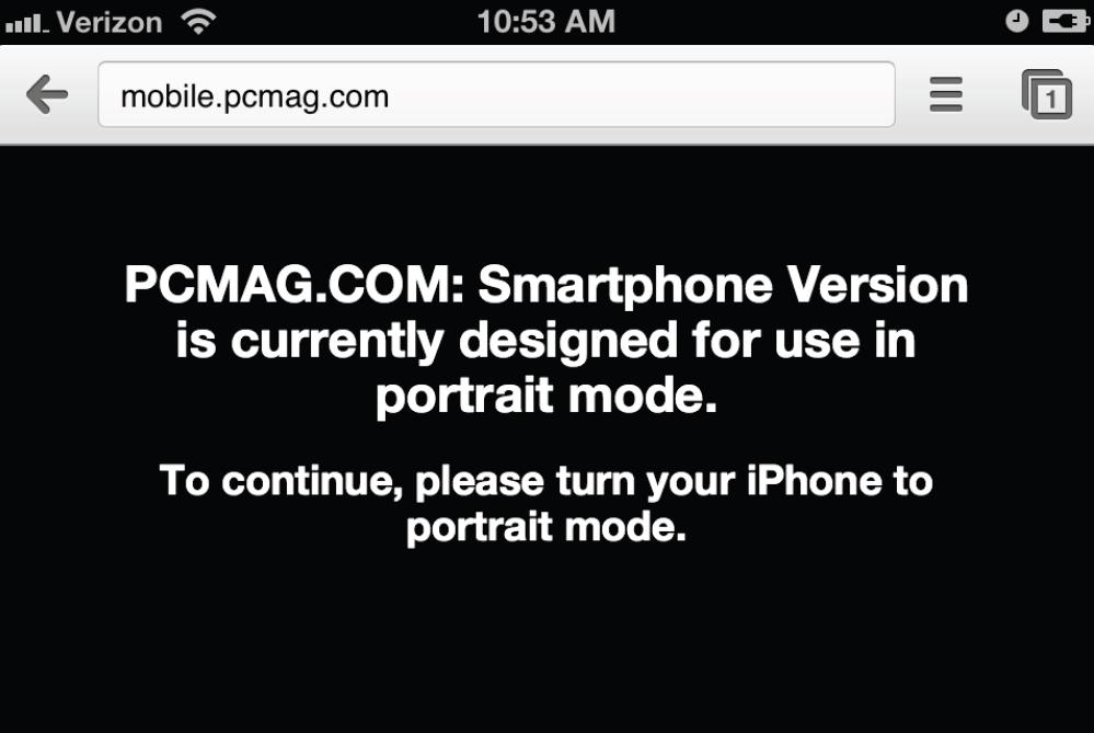 Foutmelding dat website niet ontworpen is voor landschap modus